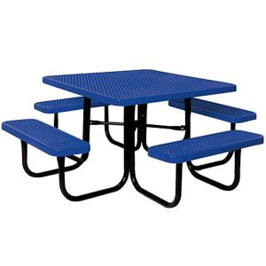 Portable Blue Diamond Commercial Park Square Picnic Table by
