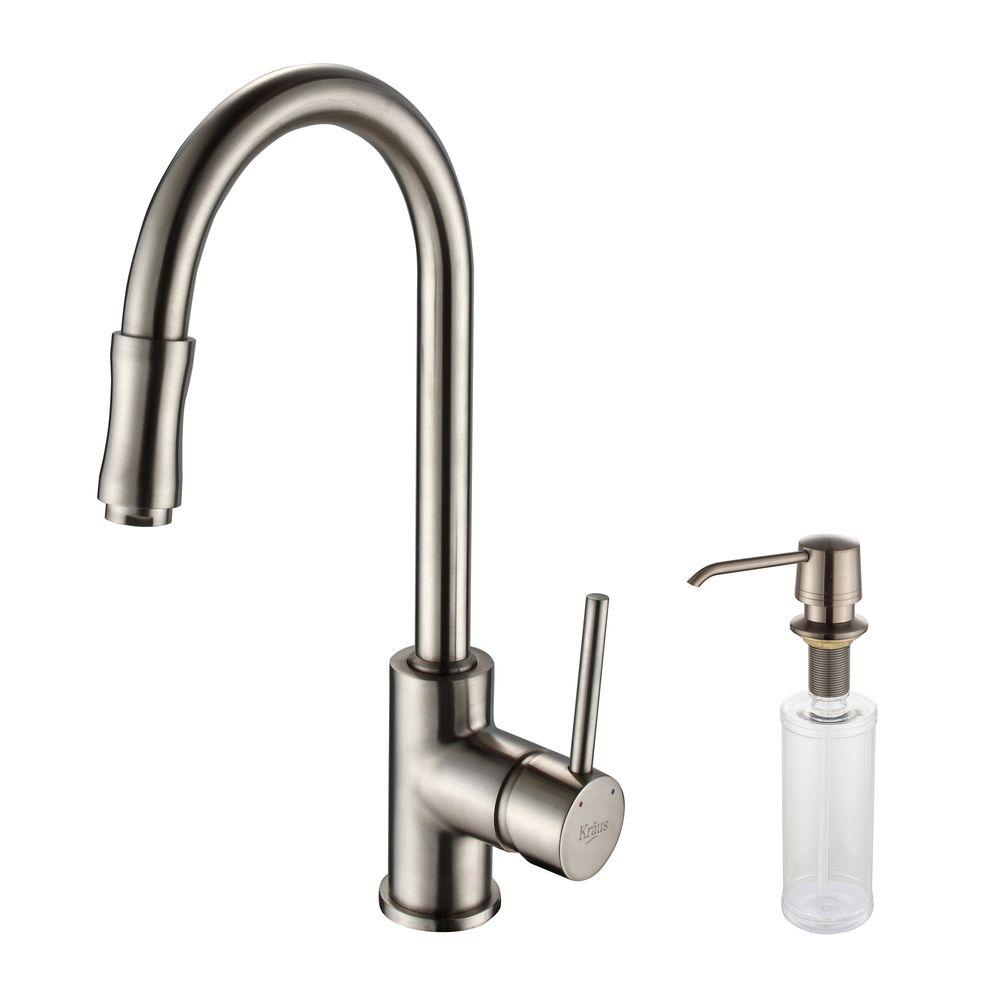 KRAUS Single-Handle Pull-Down Kitchen Faucet with Soap Dispenser ...