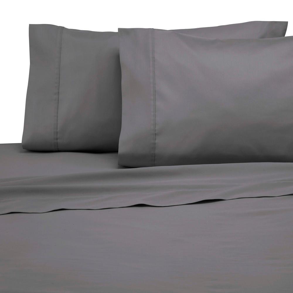300 Thread Count Graphite Cotton King Pillowcase (Set of 2)