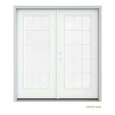 72 in. x 80 in. White Painted Steel Right-Hand Inswing 15 Lite Glass Stationary/Active Patio Door