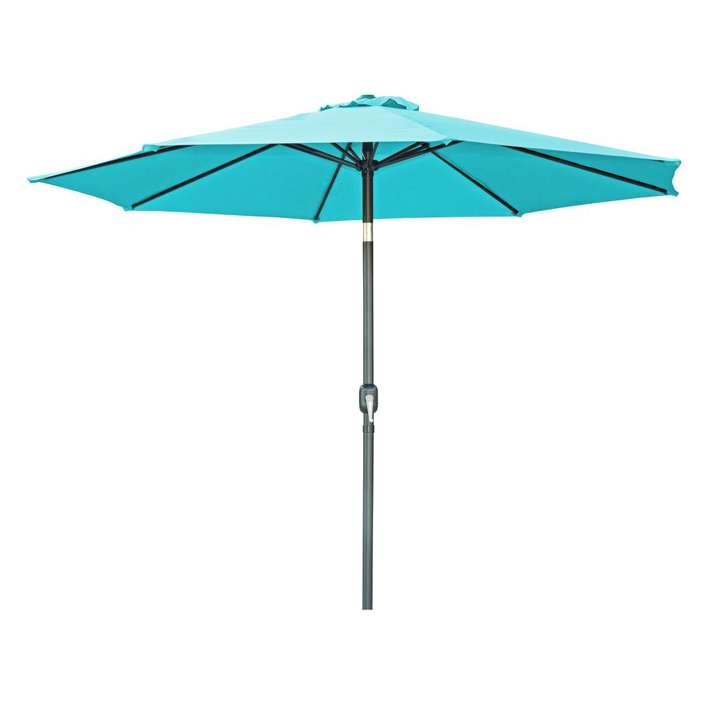 Market Tilt Crank Patio Umbrella in Peacock  sc 1 st  The Home Depot : crank patio umbrellas - thejasonspencertrust.org