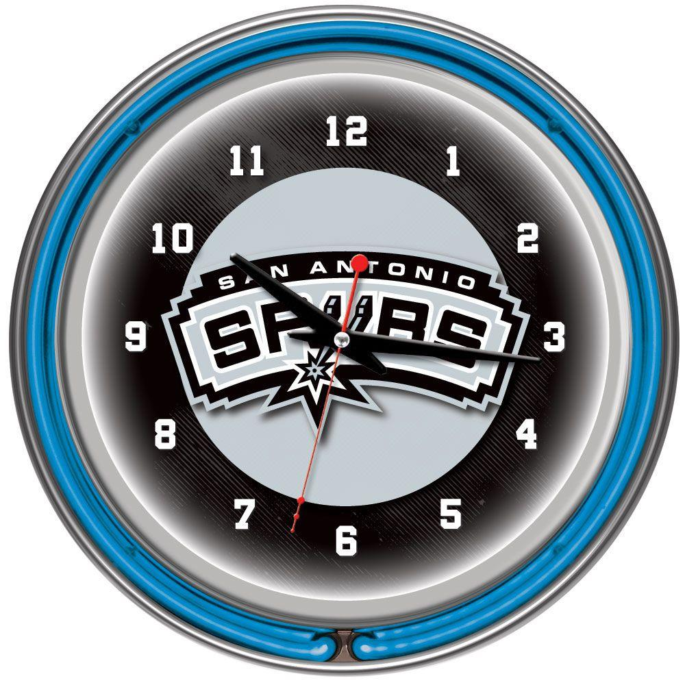 Trademark Global 14 in. San Antonio Spurs NBA Chrome Double Ring Neon Wall Clock