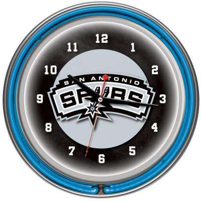 14 in. San Antonio Spurs NBA Chrome Double Ring Neon Wall Clock