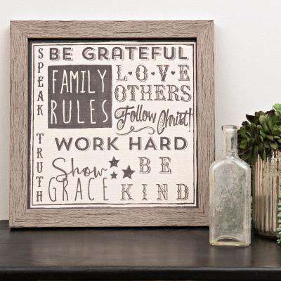 "Homespun Faith ""Family Rules"" by Carpentree Framed Natural Canvas Wall Art"