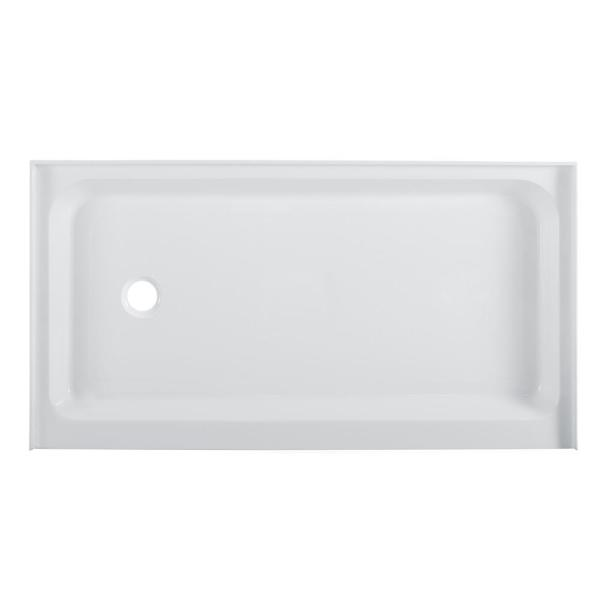 Voltaire 60 in. x 34 in. Acrylic Single-Threshold Left Side Drain Shower Base in White