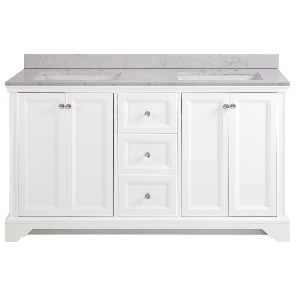 Home Decorators Collection Stratfield 61 in. W x 22 in. D Bathroom Vanity in White with Stone Effect Vanity Top in Pulsar with White Sink