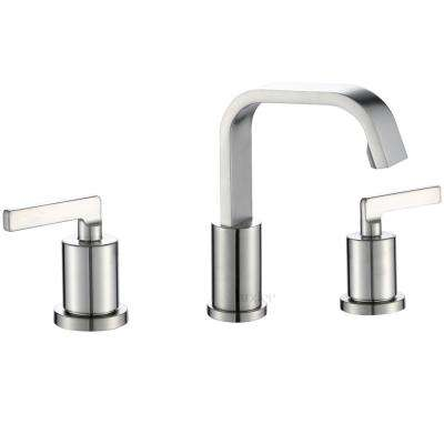 Contemporary 8 in. Widespread 2-Handle Bathroom Faucet with Pop-Up Drain in Spot Resist Brushed Nickel