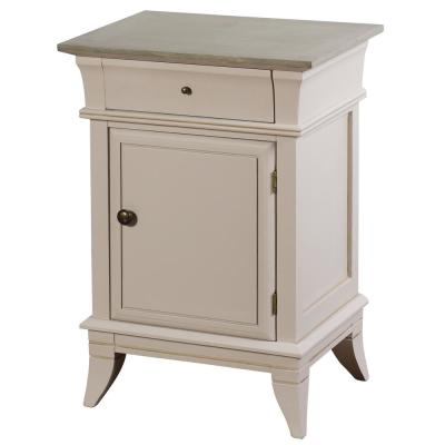 Ivan 1-Door with Side Drawer Light Gray, Brass MDF with Palownia veneer Cabinet