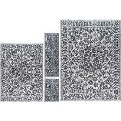Majesty Ivory 8 ft. x 10 ft. 4-Piece Rug Set