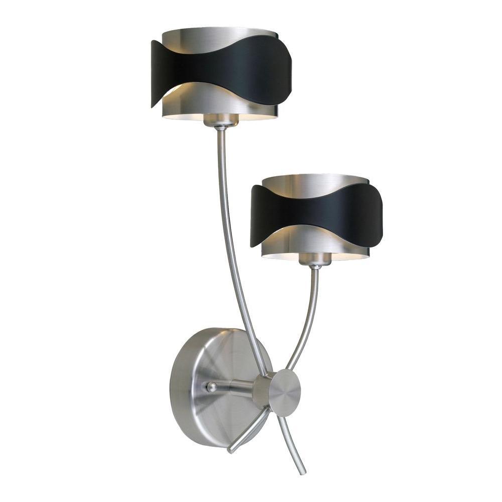 Eglo Catwalk Collection 2-Light Matte Nickel and Black Flushmount Sconce