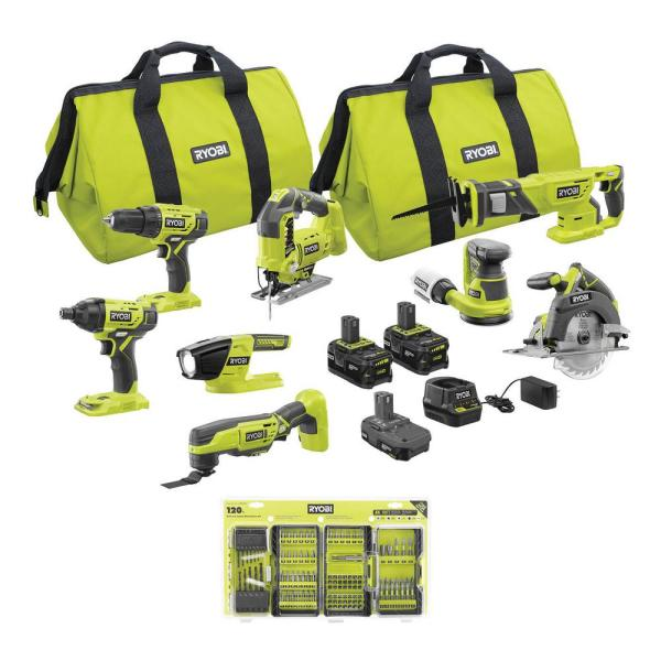 ONE+ 18V Cordless 8-Tool Combo Kit with (3) Batteries, Charger, 120-Piece Drill and Impact Rated Drive Kit