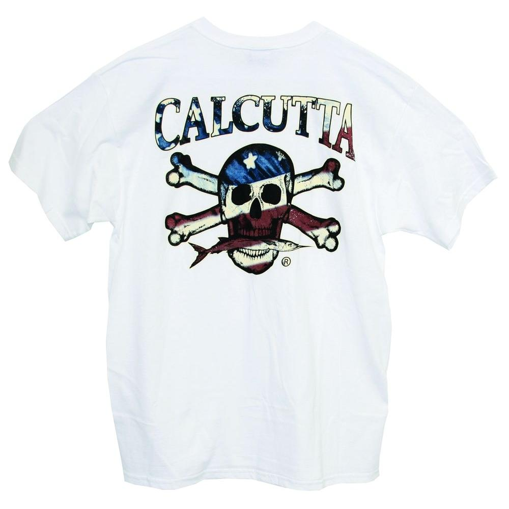 Calcutta Adult Extra Large Cotton Red White Blue Flag Color Logo Short Sleeve Front Pocket T-Shirt in White-DISCONTINUED