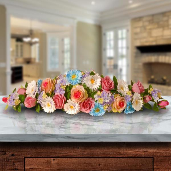 32.5 in. Rose, Gerbera and Hydrangea Swag in Blue/Pink
