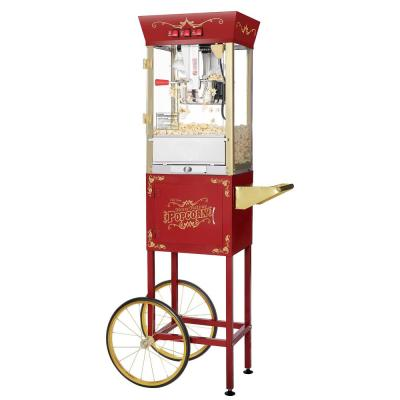 Matinee Movie 8 oz. Antique Red Popcorn Machine with Cart