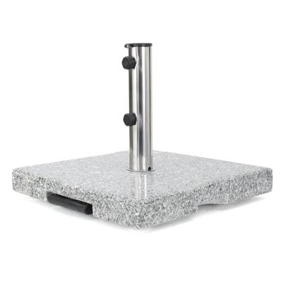 Emanuel 62.5 lbs. Granite and Stainless Steel Patio Umbrella Base in Natural Grey