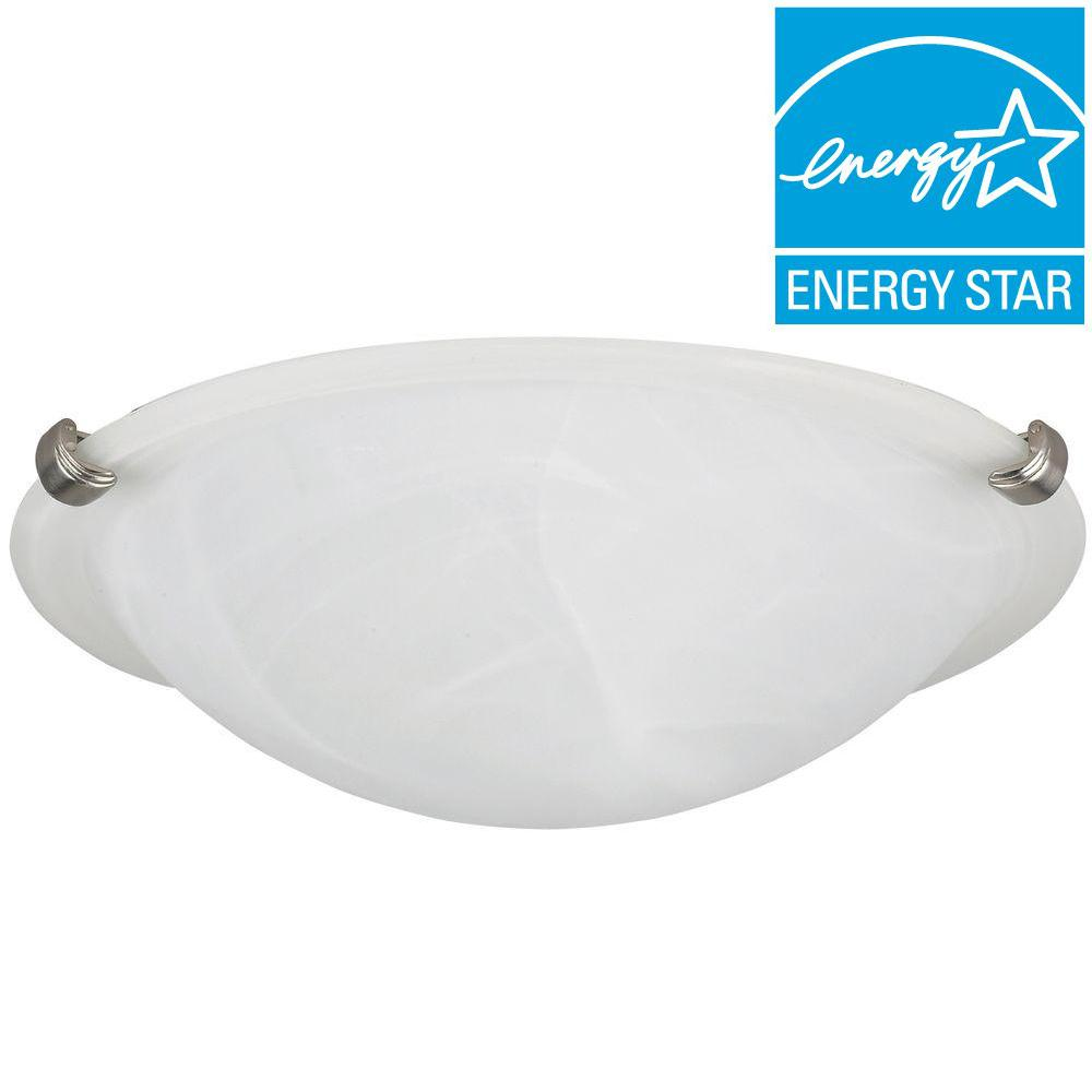 CANARM Envirolite 1-Light Brushed Pewter Energy Star Clip Flush Mount with Opal Glass