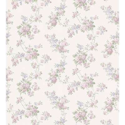 Kitchen and Bath Resource II Off-White Mid-Scale Rose Trail Wallpaper Sample