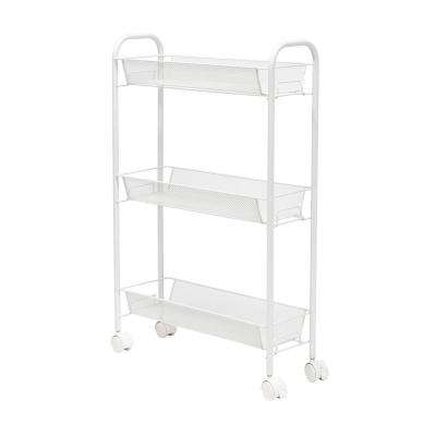 7 in. W x 30 in. H x 18 in. D Space Saver Rolling Cart in White