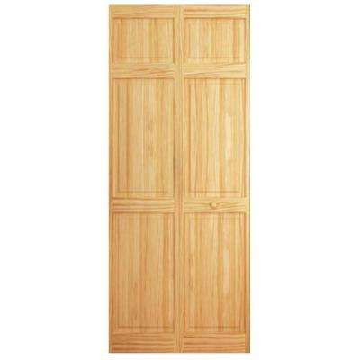 24 in. x 84 in. 6-Panel Solid Wood Core Pine Bi-Fold Door