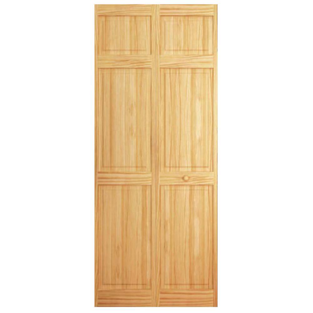 24 in. x 84 in. 6-Panel Solid Wood Core Pine Bi-Fold Door