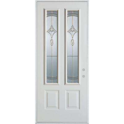33.375 in. x 82.375 in. Traditional Brass 2 Lite 2-Panel Painted White Left-Hand Inswing Steel Prehung Front Door