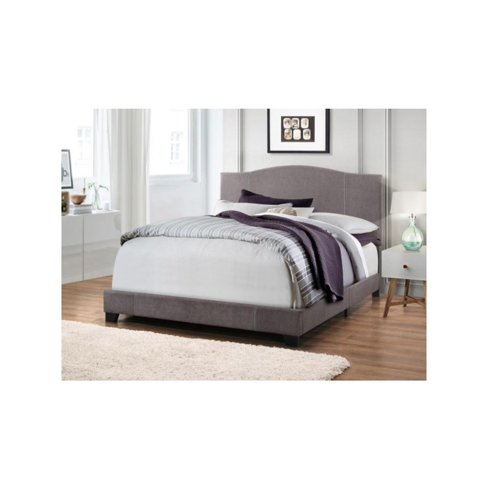 All-in-One Modified Camel Back Upholstered Denim Cement Gray King Bed