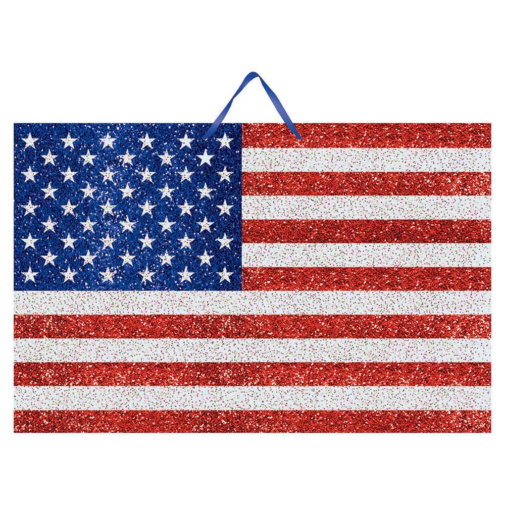 AMSCAN 9.25 in. x 14.25 in. American Flag Glitter Sign (6...