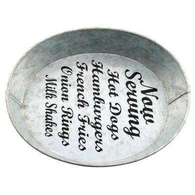 """Industrial Luxe """"Now Serving"""" Galvanized Serving Bowl"""
