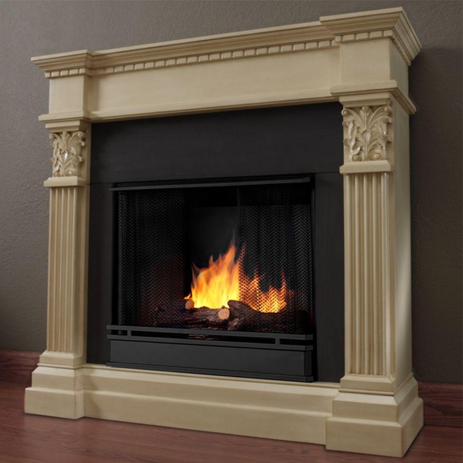 Real Flame Gabrielle 42 in. Gel Fuel Fireplace in Antique White-DISCONTINUED