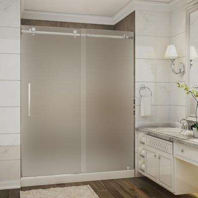 Moselle 60 in. x 32 in. x 77.5 in. Completely Frameless Sliding Shower Door with Frosted in Chrome with Center Base
