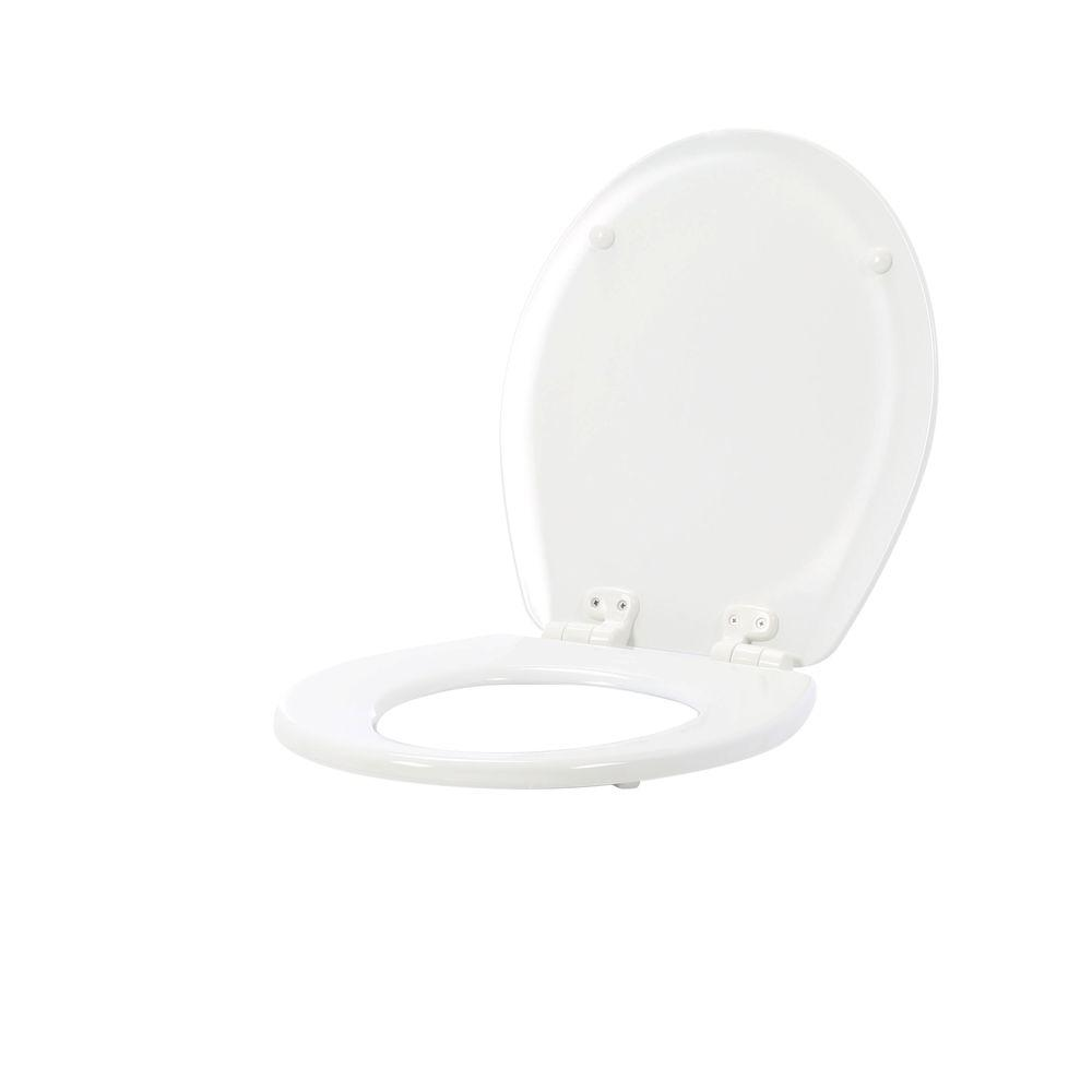 easy home toilet seat. Adjustable Slow Close Never Loosens Round Closed Front Toilet Seat in White Seats  Toilets Bidets The Home Depot