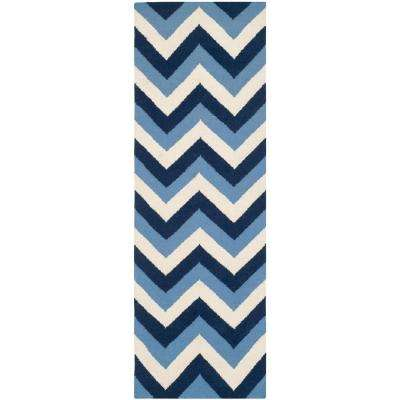 Dhurries Navy/Light Blue 3 ft. x 8 ft. Runner Rug