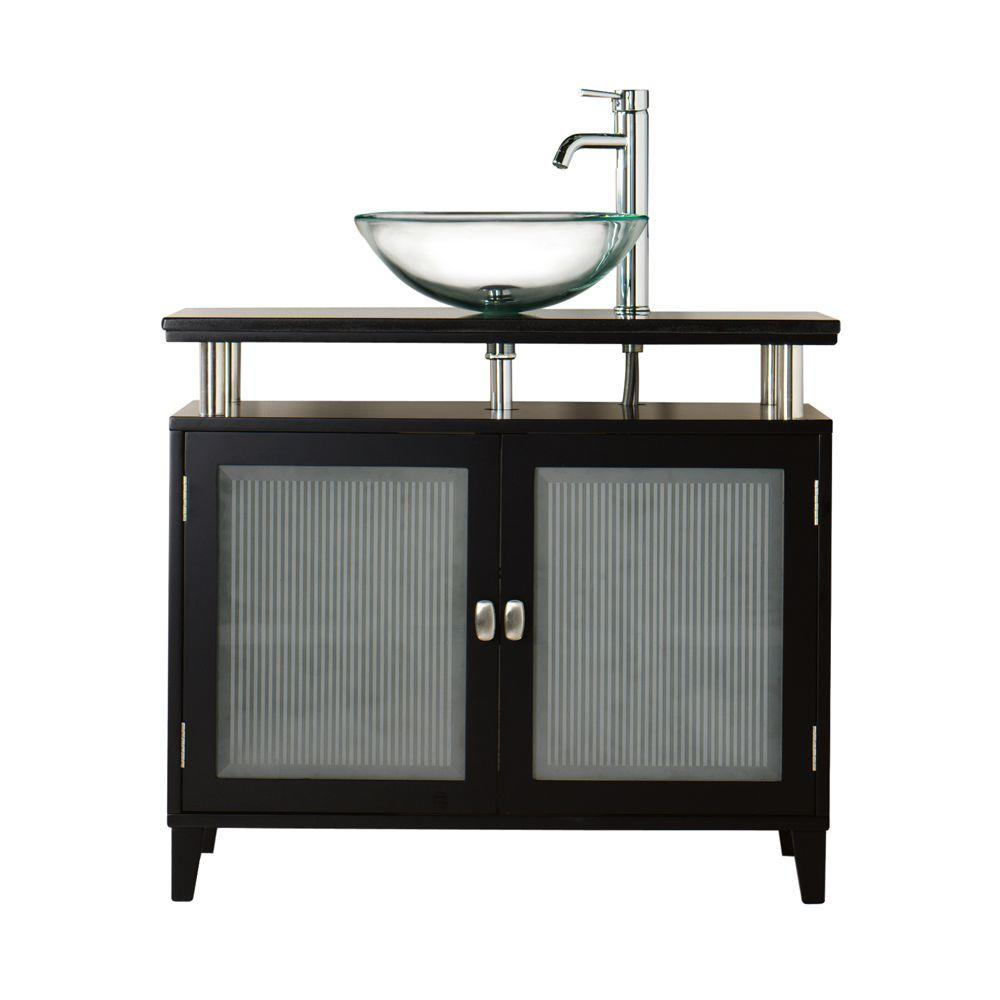 Home Decorators Collection Moderna 36 in. W x 21 in. D Bath Vanity in Black with Marble Vanity Top in Black and Two Glass Doors