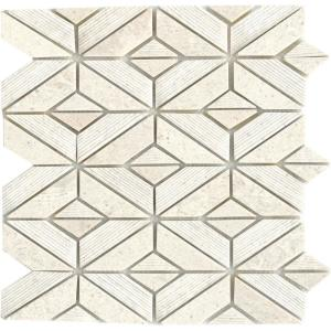Limestone Presidio Ivory Ivory 11.81 in. x 12.4 in. Geometric Honed Limestone Mosaic Tile (1.017 sq. ft./Each)