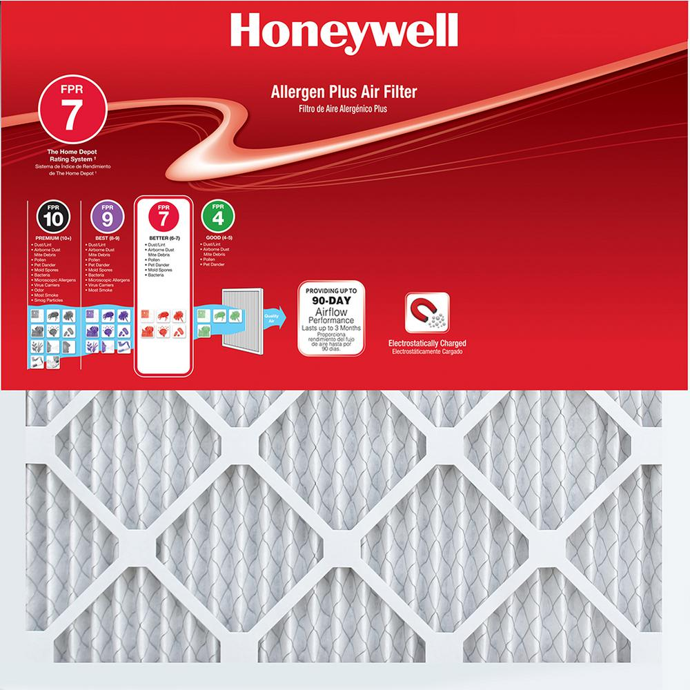 Honeywell 24 in. x 24 in. x 1 in. Allergen Plus Pleated FPR 7 Air Filter