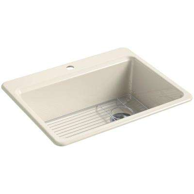 Riverby Drop-In Cast Iron 27 in. 1-Hole Single Bowl Kitchen Sink Kit in Almond