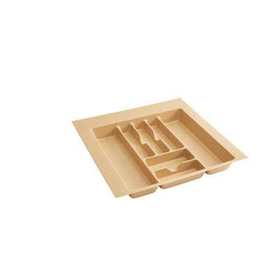 2.375 in. H x 21.875 in. W x 21.25 in. D Extra Large Almond Cutlery Tray Drawer Insert