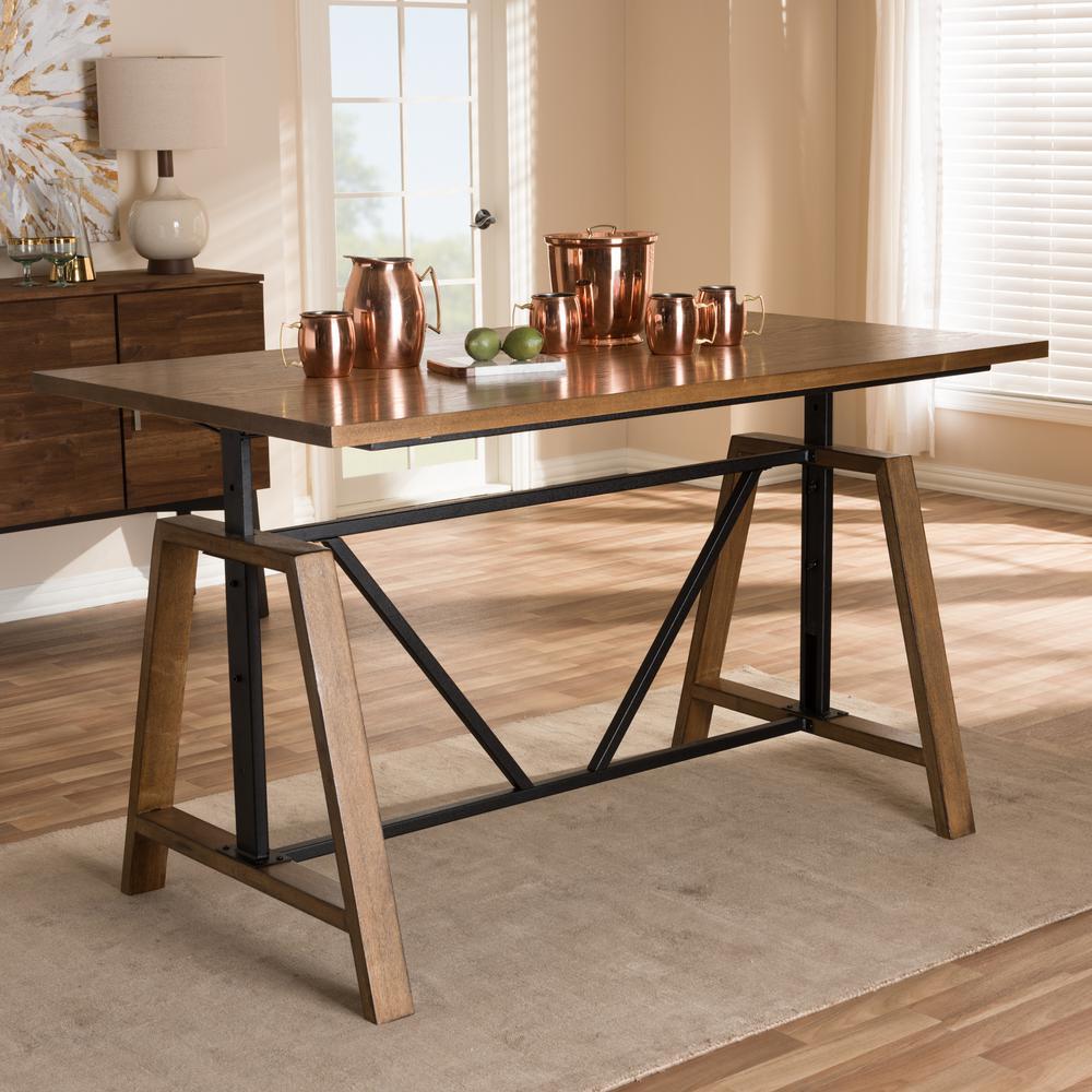 59.8 in. Rectangular Brown/Black Writing Desks with Adjustable Height