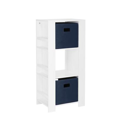 Kids White Cubby Storage Tower with Bookshelves with 2-Piece Navy Bins