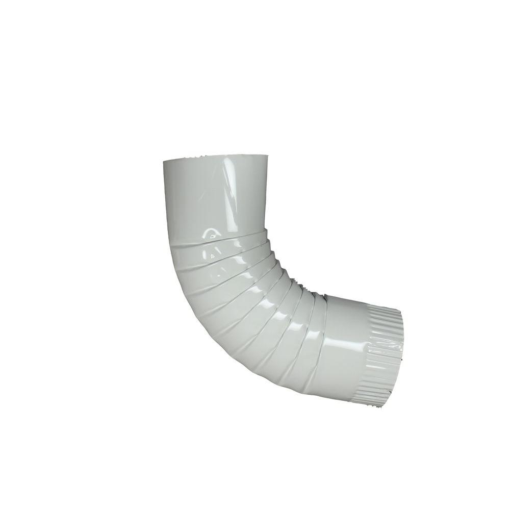 4 in. Round High Gloss White Aluminum Downpipe Elbow