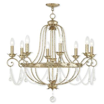 Sophia 8-Light Hand Applied Winter Gold Chandelier