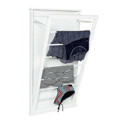 23 in. x 42 in. White Vertical Wall Mount Dry Rack
