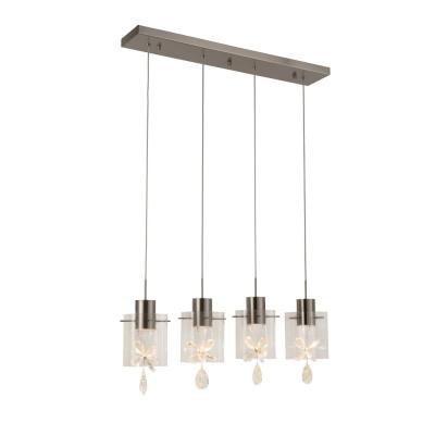Papillon 24-Watt Integrated LED Brushed Nickel Linear Pendant with Glass Shades