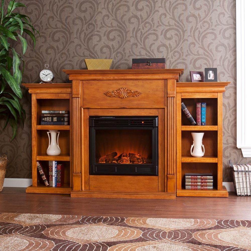 Southern Enterprises Tennyson 70 in. Electric Fireplace with Bookcases in Plantation Oak-DISCONTINUED