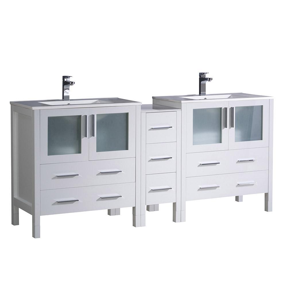 Torino 72 in. Double Vanity in White with Ceramic Vanity Top in White with White Basins