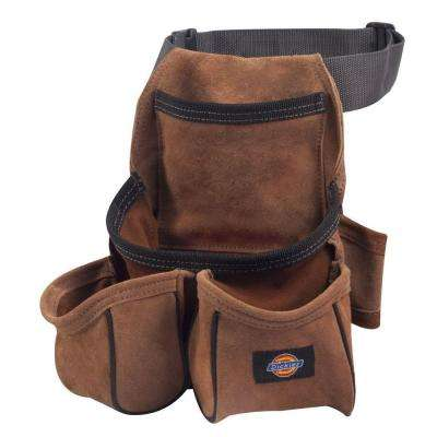 Leather 4-Pocket Construction Tool Pouch / Holder, Tan