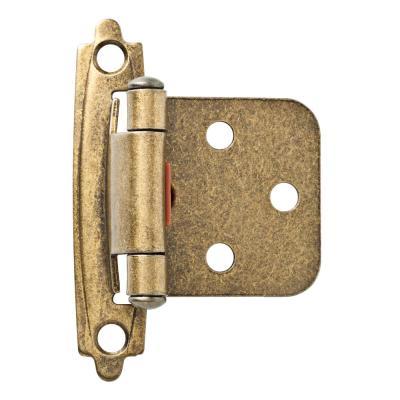 Antique Brass Self-Closing Overlay Cabinet Hinge (1-Pair)