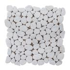 Winter Court White 11.5 in. x 11.5 in. Pebble Honed Marble Wall and Floor Mosaic Tile (0.918 sq. ft./Each)