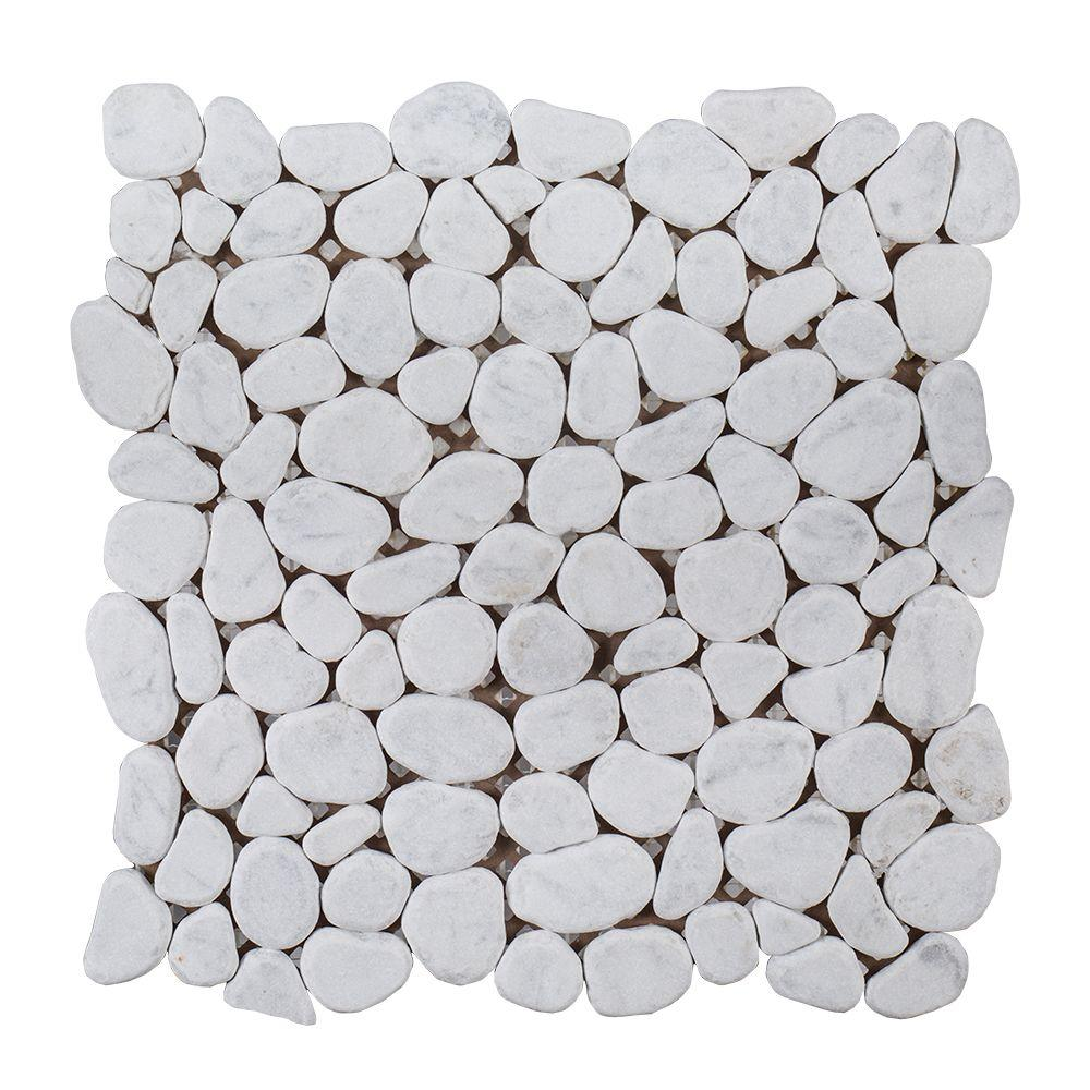 Jeffrey Court Winter White Pebble 12 In X 10 Mm Honed Marble Stone Mosaic Wall Floor Tile