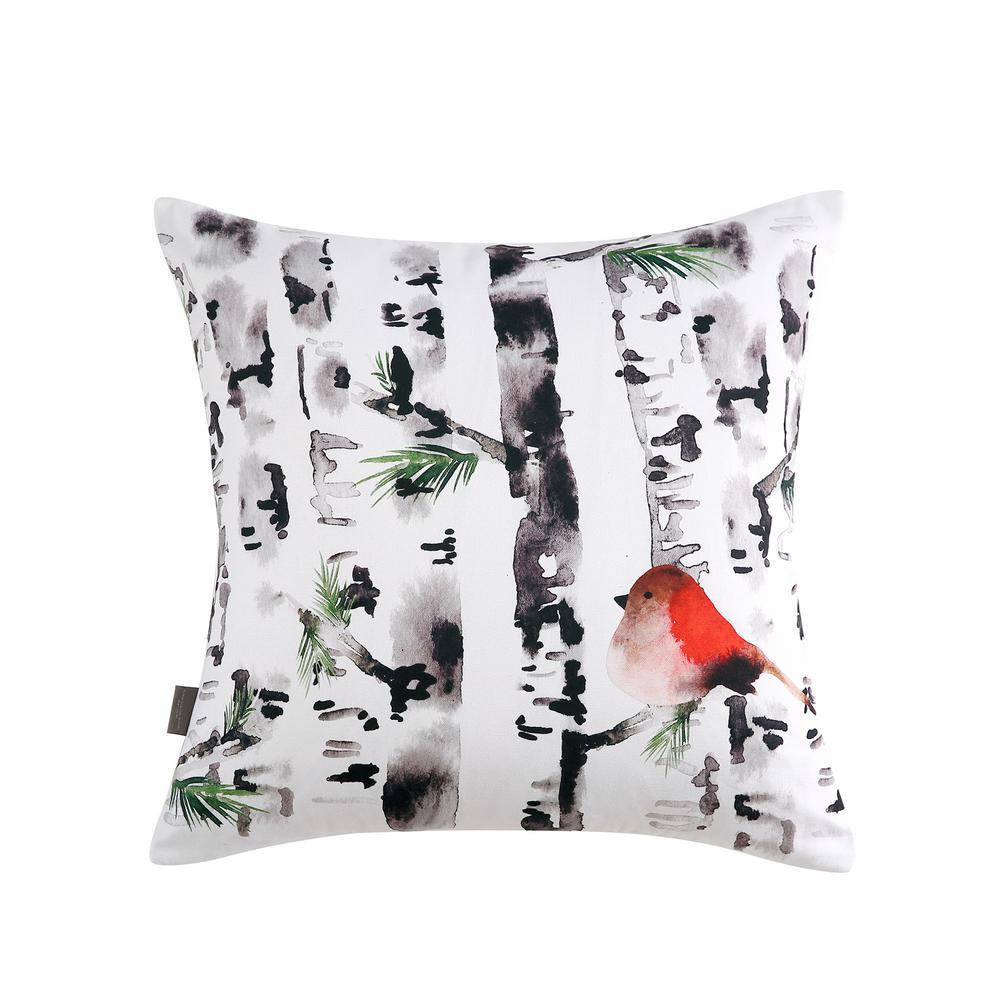 Bird In Birch Reversible 20 in. x 20 in. Decorative Pillow
